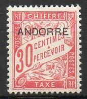 ANDORRE FRANCAIS - 1931-32 - Taxe - N° 3 - (Timbre De 1893 Surchargé : ANDORRE) - Neufs