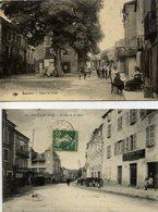 46 SOUILLAC - Lot De 2 Cartes Animées : Place Du Puits Et Avenue De La Gare (pli Angle Haut Droit) - Souillac