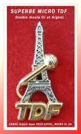 SUPER PIN'S TDF-MEDIAS : LE RARE MICRO Zamac Or 3D Sur TOUR EIFFEL Zamac ARGENT, Double Moule, 3,3X1,7cm - Medios De Comunicación