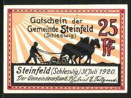 Notgeld Steinfeld / Schleswig 1920, 25 Pfennig, Silhouette Bauer Mit Pferdepflug, Windmühle Rückseitig - [11] Local Banknote Issues