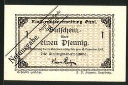 Billet De Nécessité Ettal 1917, 1 Pfennig, Ornamente, überstempelt Notausgabe April Bis Ende Juli 1919 - Lokale Ausgaben