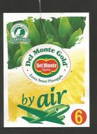 # PINEAPPLE DEL MONTE GOLD Size 6 BY AIR Fruit Tag Balise Etiqueta Anhanger Ananas Pina Costa Rica Airplane Avion - Fruits & Vegetables