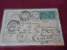 Carte Postale Avec Deux Type Sage Au Depart D Alexandrie A Destination De Trieste Via Port Said 1898 - Alexandrie (1899-1931)