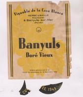 ETIQUETTE DE VIN BANYULS - Vin De Pays D'Oc