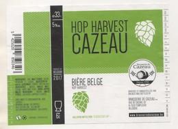 BIERE ETIQUETTE HOP HARVEST CAZEAU ( HOUBLONS ) BRASSERIE DE CAZEAU A TEMPLEUVE BELGIQUE - VOIR LE SCANNER - Beer