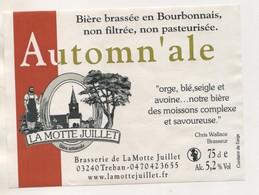 BIERE ETIQUETTE AUTOMN ALE - BRASSERIE DE LA MOTTE JUILLET A TREBAN ALLIER FRANCE - VOIR LE SCANNER - Beer