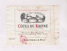 ETIQUETTE DE VIN COTES DU RHONE, VALPIERRE FILS - Côtes Du Rhône