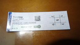 Metro Ticket From HUNGARY (Budapest) 350 Ft - U-bahn Fahrkarte Year 2018 - Transports
