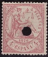 ESPAÑA. EDIFIL 151 T. TALADRO. MNG(*) NUEVO SIN GOMA. BIEN CONSERVADO - 1873-74 Regentschaft