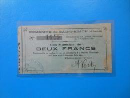 Aisne 02 Saint-Simon , 1ère Guerre Mondiale 2 Francs 7-10-1914 R1 - Bonds & Basic Needs