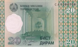 Tadjikistan 20 Dirham, P-12 (1999) - UNC - Tadjikistan