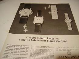 ANCIENNE PUBLICITE MONTRE LONGINES 1966 - Jewels & Clocks