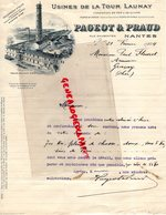 44 - NANTES - BELLE FACTURE USINES DE LA TOUR LAUNAY- PAGEOT & PRAUD-RUE DAUBENTON-1924 USINE - France