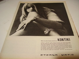 ANCIENNE PUBLICITE MONTRE KONTINI ETERNA MATIC 1966 - Jewels & Clocks