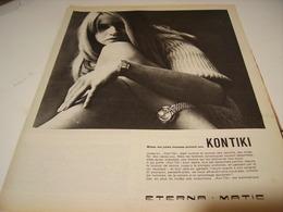 ANCIENNE PUBLICITE MONTRE KONTIKI ETERNA MATIC 1966 - Bijoux & Horlogerie