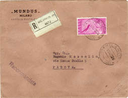 ITALIA REP.--RACCOMANDATA VIAGGIATA IN TARIFFA CON VALORE ISOLATO COME DA FOTO - 6. 1946-.. Repubblica
