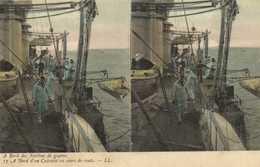 Carte Stereo A Bord Des Navires De Guerre A Bord D'un Cuirassé En Cours De Route Colorisée RV - Guerre