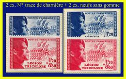 N° 565-566 LÉGION TRICOLORE 1942 - 2 EX. N* TRACE DE CHARNIÈRE + 2 EX. NEUFS SANS GOMME - - France