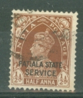 India - Patiala: 1937/39   Official - KGVI 'Patiala State Service' OVPT  SG O63    ½a    Used - Patiala