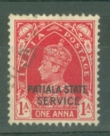India - Patiala: 1937/39   Official - KGVI 'Patiala State Service' OVPT  SG O65    1a    Used - Patiala