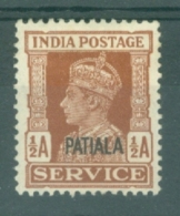 India - Patiala: 1939/44   Official - KGVI 'Patiala' OVPT  SG O72    ½a   Red-brown     MH - Patiala