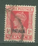 India - Patiala: 1939/44   Official - KGVI 'Patiala' OVPT  SG O75    1a    Used - Patiala