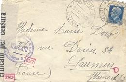 1940- Busta Di  SAMPEIRE  Per La Francia   Censure Italiane Y Tedesca - Storia Postale