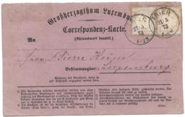 LUXEMBOURG  Formular Message Card Used  From Germany In 1873 - Only Known In-period International Use - BDPH Certificate - Stamped Stationery