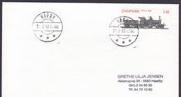 Denmark Deluxe Brotype IId KARBY 1992 Cover Brief 3.50 Kr. Locomotive Lokomotiv Train Zug Chemin Stamp - Dänemark
