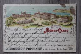 MONACO - SOUVENIR DE MONTE CARLO - PUB CORDONNERIE POPULAIRE NICE (ETAT) - Monte-Carlo