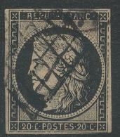 Lot N°44134  Variété/n°3, Oblit Grille Et Cachet à Date, Filets EST Et SUD, Bonnes Marges - 1849-1850 Ceres