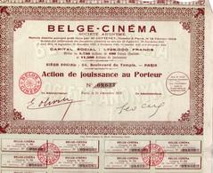 LOT DE 4 ACTIONS DE JOUISSANCE  - BELGE - CINEMA  ANNEE 1932 - Cinéma & Théatre