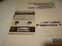 ANCIENNE PUBLICITE TRANSISTOR AVEC RADAR D APPROCHE  PATHE MARCONI 1966 - Music & Instruments