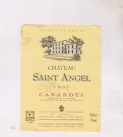 ETIQUETTE VIN CHATEAU SAINT ANGEL CABARDES 1996! - Vin De Pays D'Oc