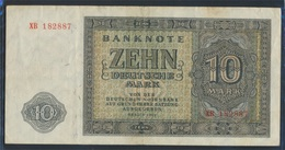 DDR Rosenbg: 343c KN 6stellig, Ersatznote Gebraucht (III) 1948 10 Deutsche Mark (9223263 - [ 6] 1949-1990 : RDA - Rep. Dem. Alemana