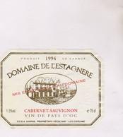 ETIQUETTE VIN DOMAINE DE L ESTAGNERE, CABERNET SAUVIGNON - Vin De Pays D'Oc