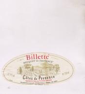 ETIQUETTE VIN  , COTES DE PROVENCE, BILLETTE - Pink Wines