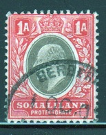 Somaliland Protectorate 1905 Edward VII One Anna Grey Black And Red Stamp. - Somaliland (Protectorate ...-1959)