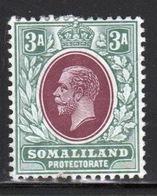 Somaliland Protectorate 1912 George V Three Anna Chocolate And Grey Green Stamp. - Somaliland (Protectorate ...-1959)
