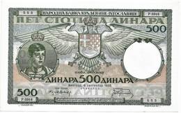 Yugoslavia 500 Dinara 1935. Unc - Large - Yugoslavia