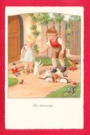 Illust-1673Ph54 Paoli Ener, Le Dressage, Enfants Avec Des Chats, Cpa BE - Ebner, Pauli