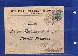 """##(ANT4)-1915-Busta Intestata """"Antonio Tartaro-Spedizioniere-Trapani"""" Da Trapani Per Palermo - 1900-44 Victor Emmanuel III"""