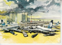 L111. Postcard. Drawing Of Brussels National Airport. Sabena Airlines. - 1946-....: Modern Era