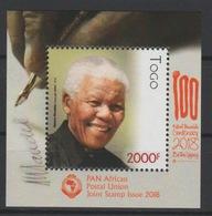 Togo 2018 Mi. ? S/S Joint Issue PAN African Postal Union Nelson Mandela Madiba 100 Years - Togo (1960-...)