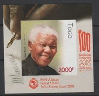 Togo 2018 Mi. ? S/S IMPERF NON DENTELE Joint Issue PAN African Postal Union Nelson Mandela Madiba 100 Years - Togo (1960-...)