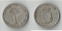 CONGO BELGE 1 FRANC 1959 - Congo (Belge) & Ruanda-Urundi