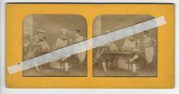 PHOTO STEREO Circa 1865 LE JEU DE CARTES THE CARD GAME /FREE SHIPPING R - Stereoscopic