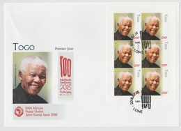 Togo 2018 Mi. ? M/S FDC First Day Cover 1er Jour Joint Issue PAN African Postal Union Nelson Mandela Madiba 100 Years - Togo (1960-...)