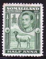 Somaliland Protectorate 1938 George VI Single Half Anna Green Stamp. - Somaliland (Protectorate ...-1959)