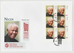 Niger 2018 Mi. ? M/S FDC First Day Cover 1er Jour Joint Issue PAN African Postal Union Nelson Mandela Madiba 100 Years - Emissions Communes
